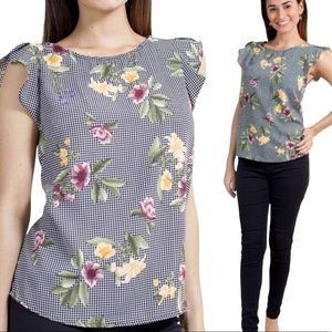 WESTMOON Gingham Flutter Floral Blouse Black Small